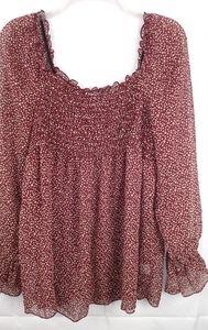 Duo Maternity Burg Polka Dot Sheer Shirt Size XL